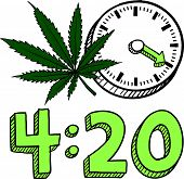 picture of bong  - Doodle style 420 marijuana leaf sketch in vector format - JPG