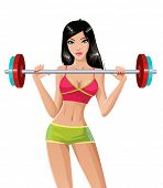 Pretty girl lifting a weight bar