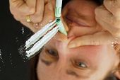 a line was drawn cocaine. photo icon for drug abuse.