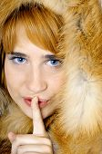 Beautiful Blue-eyed Woman In Fox Fur Shows Sh-h