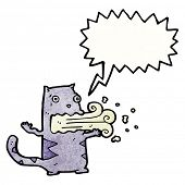 cartoon cat with bad breath