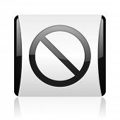 access denied black and white square web glossy icon