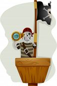 Illustration of a Pirate Standing in the Crow's Nest of the Ship and Holding a Telescope