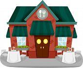 Ilustração de uma fachada de restaurante com mesas e cadeiras
