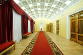 MOSCOW - JANUARY 27: Hall with red carpet in Palace on Yauza on January 27, 2012 in Moscow, Russia.