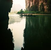river in cave, BaBe lake NP, Vietnam