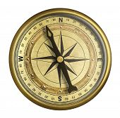 image of nautical equipment  - antique nautical compass isolated on white - JPG