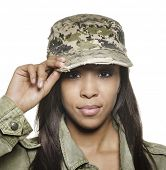 stock photo of military personnel  - Attractive young woman wearing military cap - JPG