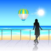 Sunny summer background with silhouette of a girl.