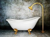 stock photo of suds  - vintage bathtub in room with grunge wall - JPG
