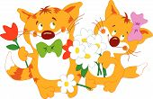 Cats Couple With Flowers.eps