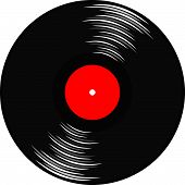 Gramophone record with red labe.l
