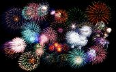 Colorful Fireworks Of Various Colors In Night Sky