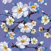 Abstract Vector floral seamless Pattern mit blühenden Blumen. Eleganz-Abbildung