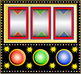 stock photo of slot-machine  - Colorful slot machine with three empty little fields with colored triangles  - JPG