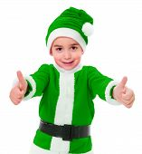 Little Green Christmas Boy Showing Thumbs Up