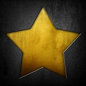 stock photo of iron star  - metal plate with golden star - JPG
