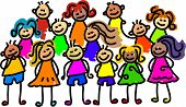 stock photo of nursery school child  - happy and diverse group of kids - JPG