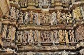 Human Sculptures At Lakshmana Temple, Khajuraho, India - UNESCO world heritage site.
