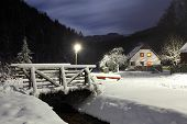 stock photo of chalet  - Wintry landscape with chalet - JPG