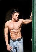 Handsome Muscular Man Shirtless Wearing Jeans