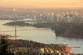 pic of mountain lion  - Downtown Vancouver and Lions Gate Bridge at sunset viewed from Cypress Mountain lookout - JPG