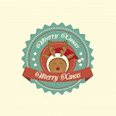 picture of rudolph  - Vintage christmas label with Rudolph the red - JPG