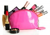 stock photo of face-powder  - Beautiful make up bag with cosmetics  - JPG