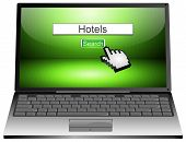 laptop with internet web search engine hotels
