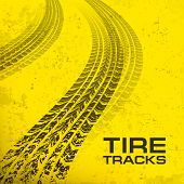 Tire Tracks On Yellow