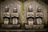 Sculpture of praying peoples. Nepal