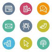 Internet web icons set 2, color circle buttons