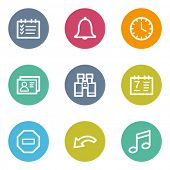 Organizer web icons, color circle buttons