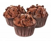 stock photo of chocolate muffin  - muffins chocolate close up isolated on white background - JPG