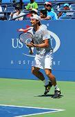 Professional tennis player David Ferrer from Spain practices for US Open 2013