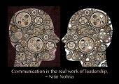Profiles of two human heads filled with gears. Concept of communication. A quote by Nitin Nohria which say