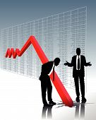 stock photo of stock market data  - stock market crash and the perplexity of two business men - JPG