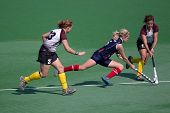 BLOEMFONTEIN, SOUTH AFRICA - AUGUST 7: Unidentified players during a womenâ??s field hockey match be