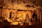 Limestone formations in the main chamber of the Cango caves, South Africa