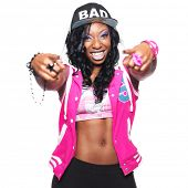 picture of rapper  - trendy colorful female rapper pointing at camera - JPG