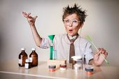 stock photo of crazy face  - Crazy scientist - JPG