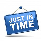 just in time delivery sign or icon under time pressure getting the deadline and being precise on time banner
