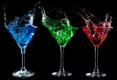Alcoholic cocktails set - red, green, blue.
