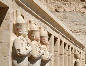 stock photo of hatshepsut  - details of hatshepsut temple with stone figures - JPG