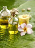 Health spa with massage oil, frangipani,candle