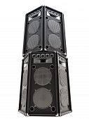 Large audio Tower speakers on a white background.