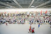 SAMARA, RUSSIA - JULY 7: Top view of a hall Auchan hypermarket, July 7, Samara. In Russia there are