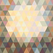 Abstract Background Of Mosaic Colored Triangles, Lighter From The Middle.
