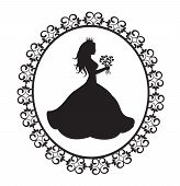 princess silhouette with flowers in vintage frame
