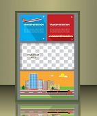brochure design with transportation icons
